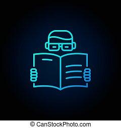blauw boek, lezende , pictogram, man