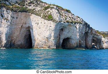 blauw eiland, noordelijk, zakynthos, deel, griekenland, holen