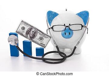 blauw en wit, piggy bank , het voeren bril, en, stethoscope