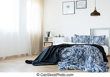 Blauwe , jongens, slaapkamer. Blauwe , matress, ster, hoofdkussens ...
