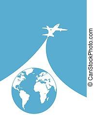 blauw en wit, vliegtuig, achtergrond