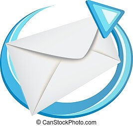 blauw envelope, richtingwijzer