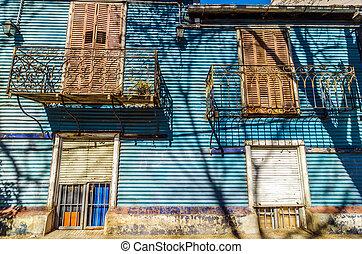 blauw gebouw, facade