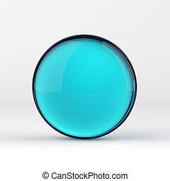 blauw glas, bal