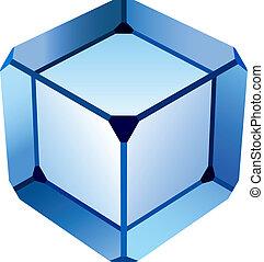 blauw glas, kubus, vector