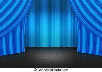 blauw gordijn, achtergrond