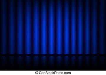 blauw gordijn, theater, toneel