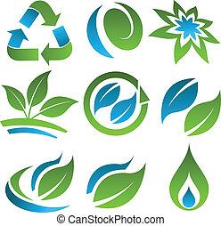 blauw groen, energie, besparing, iconen