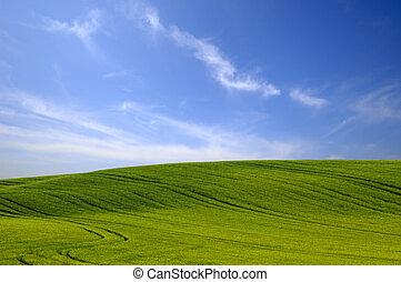 blauw groen, heuvel, bewolkt, sky.