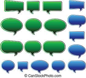 blauw & groen, toespraak, modieus, bellen