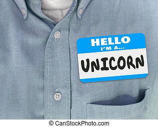 blauw hemd, label, eenhoorn, hallo, naam