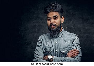 blauw hemd, op, grijze , achtergrond., indiër, man