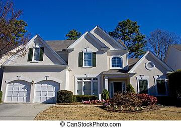 blauw huis, hemel, grijze , stucco