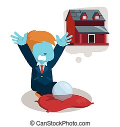 blauw huis, het dit wensen, zakenman