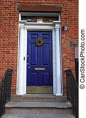 blauw huis, ingang, deur, oud