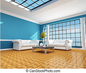 blauw huis, strand, classieke