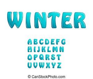 blauw ijs, glanzend, brieven, vakantie, winter, woordtypes