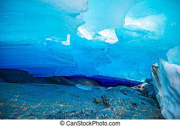 blauw ijs, grot, van, svartisen, gletsjer, noorwegen
