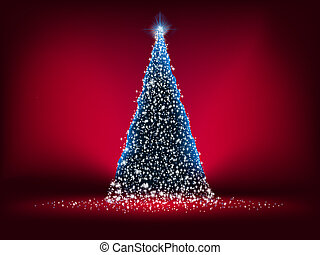blauw licht, abstract, boompje, eps, kerstmis, 8, red.