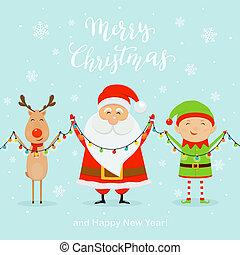 blauw licht, achtergrond, hertje, elf, kerstman, vasthouden, kerstmis, vrolijke