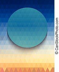 blauw licht, achtergrond, oranje cirkelen, driehoeken