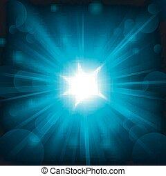 blauw licht, het glanzen