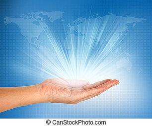 blauw licht, technologie, achtergrond, hand
