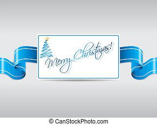 blauw lint, met, kerstmis kaart