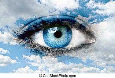 blauw oog, en blauw, hemel, -, geestelijk, concept