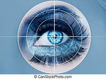 blauw oog, leerlingen, macro, makeup, sensor, erkenning