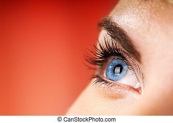 blauw oog, op, rode achtergrond, (shallow, dof)