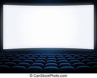 blauw scherm, bioscoop, zetels