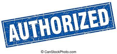 blauw vierkant, grunge, postzegel, erkend, witte