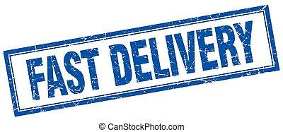 blauw vierkant, grunge, postzegel, snelle levering, witte