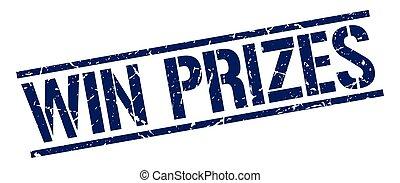 blauw vierkant, grunge, postzegel, winnen, rubber, prijzen, ouderwetse