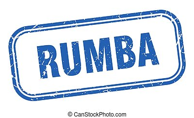 blauw vierkant, grunge, stamp., rumba, meldingsbord