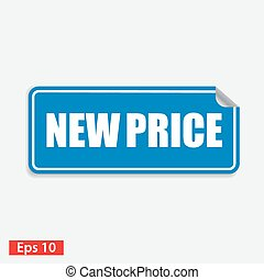 blauw vierkant, prijs, vrijstaand, nieuw, witte , sticker