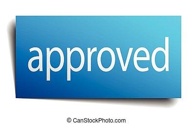 blauw vierkant, vrijstaand, meldingsbord, papier, witte ,...
