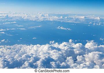 blauw vliegtuig, aanzicht, hemel, clouds.