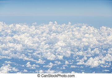 blauw vliegtuig, hemel wolk, aanzicht