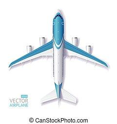 blauw vliegtuig, vector