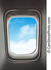 blauw vliegtuig, venster, sky., aanzicht