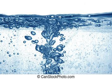 blauw water, bellen