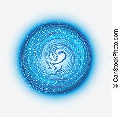 blauw water, druppels, logo, golven
