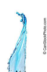 blauw water, gespetter