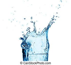 blauw water, het bespaten, op, glas, achtergrond.