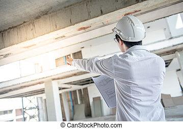 blauwdruken, controleren, bouwterrein, bouwsector, aziatisch mannetje, ingenieur