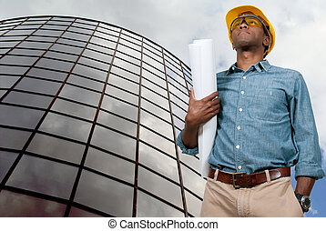blauwdruken, de arbeider van de bouw