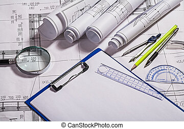 blauwdruken, en, tekening, gereedschap