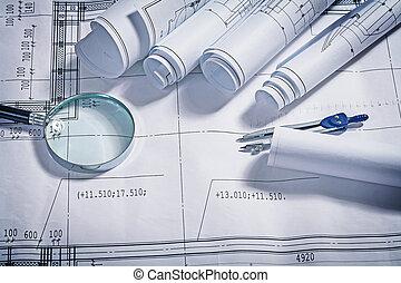 blauwdruken, magnifer, en, kompas, dichtbegroeid boven